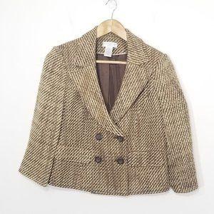 Worthington | Tweed Tan Double Breasted Blazer 10P